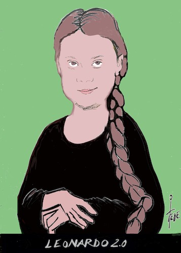 Cartoon: Mona Lisa (medium) by tiede tagged leonardo,da,vinci,greta,thunberg,fridays,for,future,klimawandel,tiede,cartoon,karikatur,leonardo,da,vinci,greta,klimawandel,tiede,cartoon,karikatur
