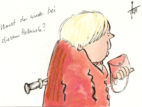 Cartoon: Merkel trifft Hollande (medium) by tiede tagged merkel,hollande,konflikte,eurobonds,euro,eurocrisis,tiede,joachim,tiedemann,karikatur,cartoon,merkel,hollande,konflikte,eurobonds,euro,eurocrisis,tiede,joachim,tiedemann,karikatur,cartoon