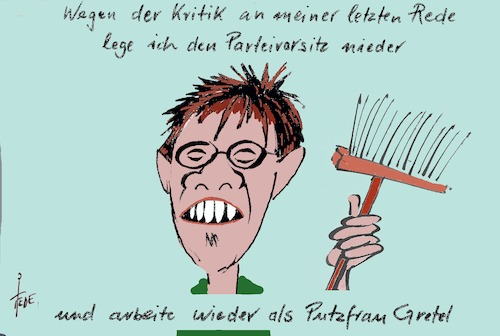 Cartoon: Putzfrau Gretel (medium) by tiede tagged akk,kramp,karrenbauer,karneval,entgleisung,tiede,cartoon,karikatur,akk,kramp,karrenbauer,karneval,entgleisung,tiede,cartoon,karikatur