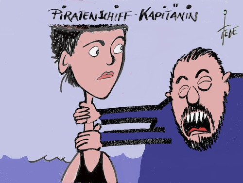 Cartoon: Rackete -Salvini (medium) by tiede tagged rackete,salvini,seenotrettung,lampedusa,gericht,tiedemann,cartoon,karikatur,rackete,salvini,seenotrettung,lampedusa,gericht,tiedemann,cartoon,karikatur