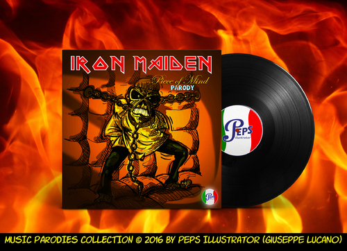 Cartoon: Iron Maiden Piece of Mind (medium) by Peps tagged parody,iron,maiden,eddie,monster,heavy,metal