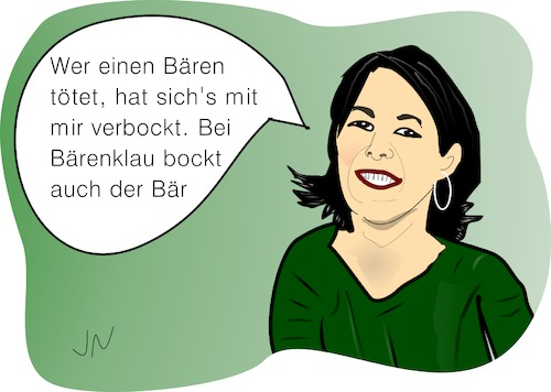 Cartoon: Baerbock (medium) by Jochen N tagged annalena,baerbock,bündnis,90,grüne,habeck,parteispitze,bundesvorsitz,doppelspitze,realos,bär,bock,bärenklau,verbockt,bockig,töten,tod