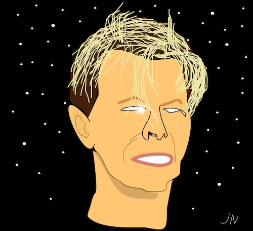 Cartoon: David Bowie (medium) by Jochen N tagged david,bowie,musik,musical,lazarus,weltraum,space,major,tom,star,stern,ziggy,stardust,jenseits,tod,seele,pop,chamäleon