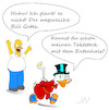 Cartoon: Homer Simpson meets Dagobert (small) by Jochen N tagged donald,duck,dagobert,bill,gates,reich,homer,simpson,stock,taktstock,ente,entenhals,entenhausen,zeichentrick,jubel