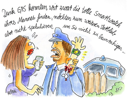 Cartoon: Smartwatch (medium) by REIBEL tagged smartwatch,gps,polizei,ortung,user,experience,smartwatch,gps,polizei,ortung,user,experience