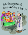 Cartoon: Letzte Reise (small) by REIBEL tagged grab,friedhof,beerdigung,trauerfeier,clowns,sarg,pfarrer,rede