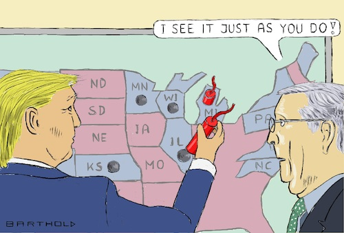 Cartoon: Are Blue States Part of America? (medium) by Barthold tagged corona,crisis,usa,shortfall,revenues,high,expenses,need,federal,support,donald,trump,mitch,mcconnell,intend,to,refuse,help,bailout,blue,states,installation,dynamite,sticks,caricature,barthold,corona,crisis,usa,states,shortfall,revenues,high,expenses,need,federal,support,donald,trump,mitch,mcconnell,intend,to,refuse,help,blue,installation,dynamite,sticks,caricature,barthold