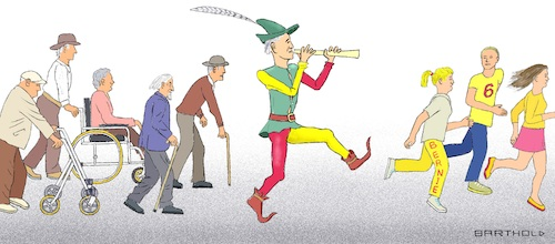 Cartoon: Biden and Voters (medium) by Barthold tagged presidential,elections,usa,2020,joe,biden,democratic,party,campaign,attractive,elderly,people,following,pied,piper,young,fleeing,caricature,barthold,presidential,elections,usa,2020,joe,biden,democratic,party,attractive,elderly,people,following,pied,piper,young,fleeing,caricature,barthold