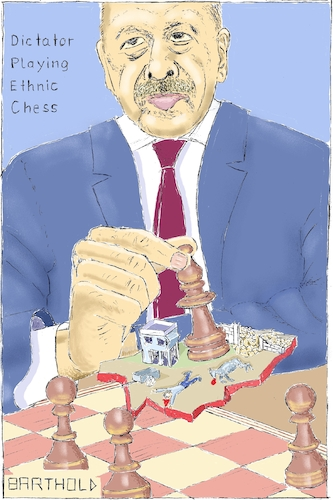 Cartoon: Dictator Playing Ethnic Chess (medium) by Barthold tagged recep,tayyip,erdogan,turkish,army,operation,olive,branch,afrin,efrin,ethnic,cleansing,expulsion,ypg,fsa,syrian,refugees,looting,despoliation,war,crime,kurds,chess,piece,chessboard,slice,destroyed,town