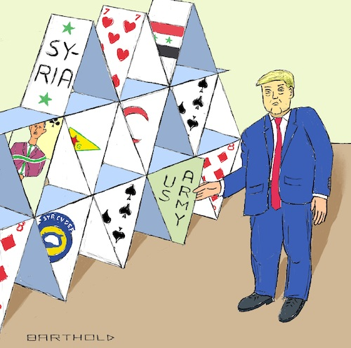 Cartoon: Extremely Wise Decision Maker (medium) by Barthold tagged donald,trump,recep,tayyip,erdogan,agreement,detriment,kurds,betrayal,turkish,invasion,north,syria,offensive,fsa,sdf,ypg,displacement,expulsion,war,house,cards,collapse