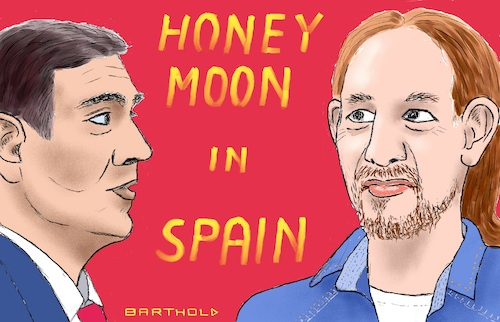 Cartoon: Honeymoon in Spain (medium) by Barthold tagged parliament,elections,spain,october,2019,letter,intent,coalition,psoe,pedro,sanchez,up,podemos,pablo,iglesias