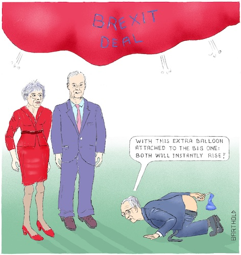 Cartoon: Juncker s Assistance to Vote 2 (medium) by Barthold tagged brexit,deal,parliament,vote,march,12,balloon,fart,claude,juncker,contribution,theresa,may,acceptance,michel,barnier,assistance,support