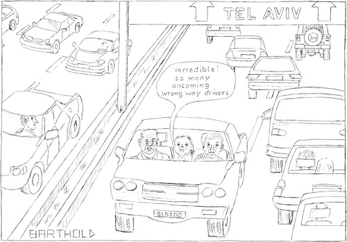 Cartoon: Two also can be very alone! (medium) by Barthold tagged benjamin,netanjahu,sara,donald,trump,jerusalem,capital,highway,israel,wrong,way,driver,loneliness,heavy,traffic,tel,aviv,signposting