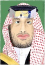 Cartoon: Behind the Face of Saudi Arabia (small) by Barthold tagged crown,prince,mohammed,bin,salman,saui,arabia,jamal,khashoggi,journalist,murder,consulate,istanbul,crime,beheading,execution,middle,age,shariah,islamic,law,face,portrait,headscarf,keffiyeh,human,rights,violation