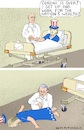Cartoon: Irresponsable Patient (small) by Barthold tagged usa,uncle,sam,anthony,fauci,corona,virus,pandemic,bedside,extreme,high,infection,rate,suspension,mitigation,measures,too,early,lock,down,social,distancing,mandatory,masks,closure,bars,restaurants,relapse,second,surge,collapse,caricature,barthold