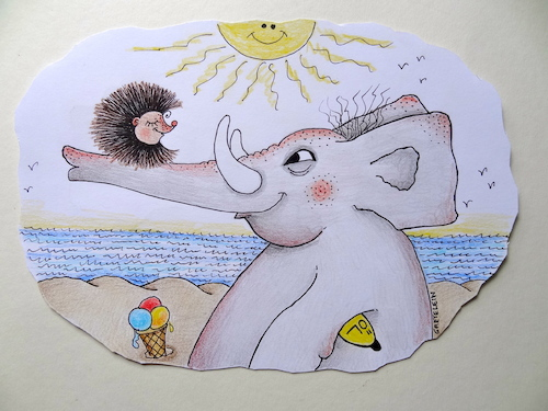 Cartoon: unter südlicher sonne (medium) by katzen-gretelein tagged sonne,strand,meer,igel,elefant,badeöl