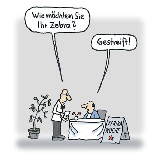 Cartoon: Afrika-Woche (medium) by Lo Graf von Blickensdorf tagged restaurant,kellner,essen,china,gast,chinarestaurant,lokal,gastronomie,restaurant,kellner,essen,china,gast,chinarestaurant,lokal,gastronomie