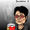 Cartoon: 1980.12.8 Dakota (small) by takeshioekaki tagged john lennon yoko ono