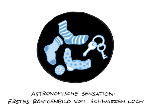 Cartoon: Lochbild (medium) by Bregenwurst tagged schwarzes,loch,astronomie,eht,röntgen,einzelsocken