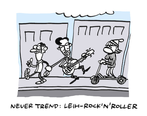 Cartoon: Rollig (medium) by Bregenwurst tagged roller,scooter,verleih,rock,roll,tolle