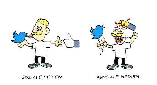 Cartoon: Sociales (medium) by Bregenwurst tagged social,media,twitter,facebook,internet