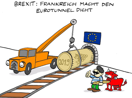 Cartoon: Tünnel (medium) by Bregenwurst tagged brexit,eu,frankreich,england,eurotunnel,korken