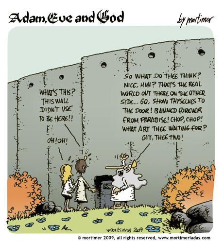 Cartoon: adam eve and god 31 (medium) by mortimer tagged english,adam,eve,god,cartoon,comic,gag,mortimer,mortimeriadas,biblical,christian,original,sin,expulsion,paradise,eden,snake,illustration,adam,eva,religion,entstehung,gott,bibel,comic,eden