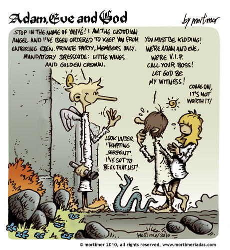 Cartoon: Adam Eve and God 42 (medium) by mortimer tagged mortimer,mortimeriadas,cartoon,comic,biblical,adam,eve,god,snake,paradise,bible,illustration,adam,eva,garten eden,bibel,religion,glaube,garten,eden