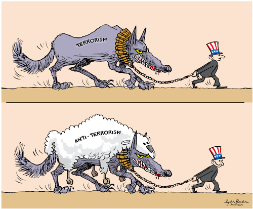 Cartoon: terrorism and anti-terrorism (medium) by Sajith Bandara tagged terrorism