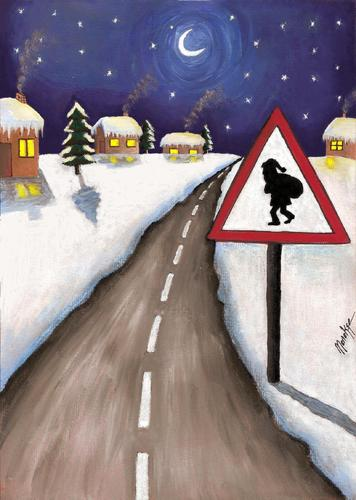 Cartoon: Christmastime (medium) by menekse cam tagged newyearseve,sign,traffic,snow,night,road,santa,xmas,christmastime,newyear
