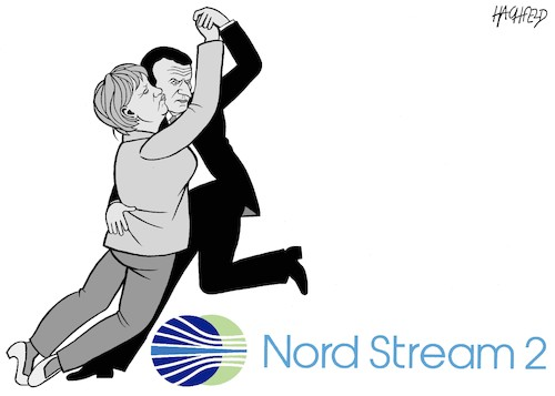 Cartoon: Nord Stream 2 (medium) by Hachfeld tagged deutschland,russland,frankreich,gas,pipeline,nord,stream