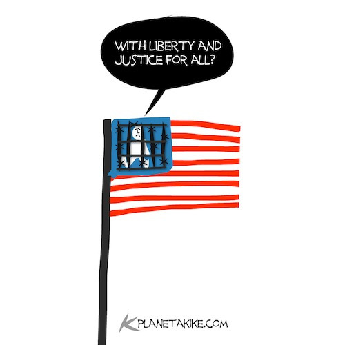 Cartoon: Justice for all (medium) by Kike Estrada tagged liberty,migration