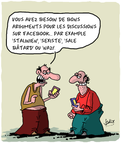 Cartoon: Arguments (medium) by Karsten tagged facebook,internet,culture,langue,facebook,internet,culture,langue