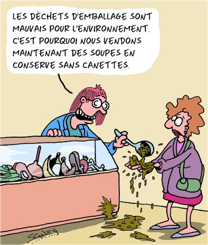 Cartoon: Emballages (medium) by Karsten tagged commerce,environnement,climat,emballages,clients,commerce,environnement,climat,emballages,clients