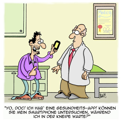 Cartoon: Gesundheits-App (medium) by Karsten tagged technik,bars,pubs,gesundheit,patienten,doktoren,ärzte,smartphones,kommunikation,smartphones,ärzte,doktoren,patienten,gesundheit,pubs,bars,technik,kommunikation
