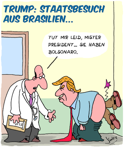 Cartoon: Staatsbesuch (medium) by Karsten tagged trump,bolsonaro,usa,brasilien,populismus,rechtsextremismus,politik,homophobie,gesellschaft,trump,bolsonaro,usa,brasilien,populismus,rechtsextremismus,politik,homophobie,gesellschaft