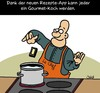 Cartoon: Feinschmecker (small) by Karsten tagged ernährung,technik,iphone,smartphone,kommunikation,kochen,essen,apps,männer