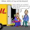 Cartoon: Frank Appel (small) by Karsten tagged post,dumpinglöhne,lohnsklaven,ausbeutung,spekulanten,profit,kapitalismus,gewinne,aktien,gesellschaft,privatisierung,paketdienst,dhl,transport,business,deutschland,wirtschaft