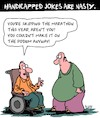 Cartoon: Handicapped Jokes (small) by Karsten tagged handicapped,people,health,medical,sports,social,issues,food,obesity,wheelchairs,humor