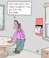 Cartoon: No Time (small) by Karsten Schley tagged parents,families,old,age,time,appointments,mothers,sons,social,issues
