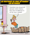 Cartoon: Retours (small) by Karsten tagged business,shopping,internet,transport,colis,mariage,hommes,femmes
