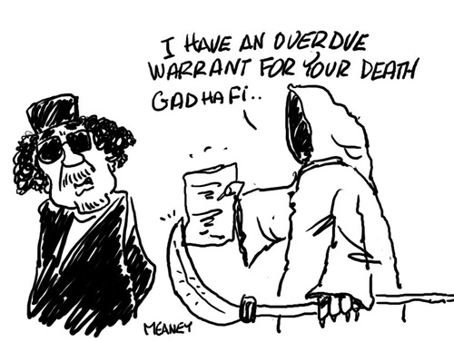 Cartoon: Finally! (medium) by John Meaney tagged kill,gadaffi,death