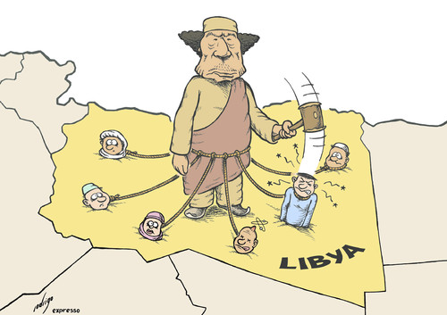 Cartoon: Anchored Gaddafi (medium) by rodrigo tagged libya,muammar,gaddafi,rebels,people,terror,war,otan,nato,attack,human,rights