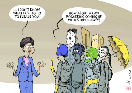 Cartoon: Beyond the masks (medium) by rodrigo tagged hong,kong,china,carrie,lam,youth,protest,democracy,extradition,bill,riots,society,international,politics,education