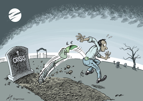 Cartoon: Crizombie (medium) by rodrigo tagged crisis,debt,workers,wages,economy,salary,zombie,recession,recovery