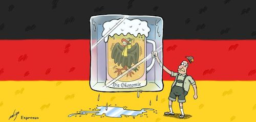 Cartoon: Freezing economy (medium) by rodrigo tagged germany,economy,recession,europe,usa,china,trade,war