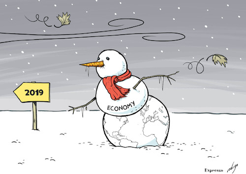 Cartoon: Happy New Freeze (medium) by rodrigo tagged world,global,economy,slowdown,trade,commerce,war,us,china,eu