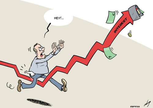 Cartoon: Interest rate raise (medium) by rodrigo tagged interest,rate,raise,income,purchasing,power,people