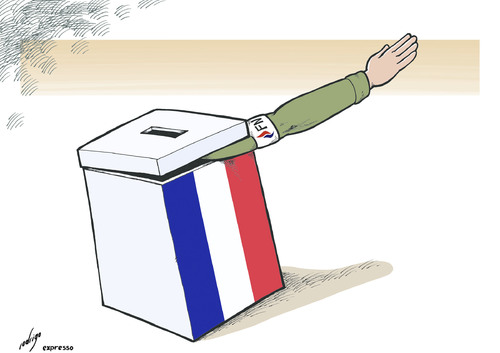 Cartoon: Le Pendora.s box (medium) by rodrigo tagged france,elections,extreme,right,marine,le,pen,national,front,fn,pandora