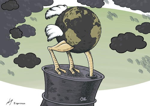 Cartoon: Stubboilness (medium) by rodrigo tagged oil,energy,fuel,gas,pollution,environment,earth,economy,middle,east